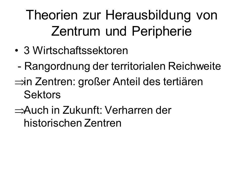 Theorien zur Herausbildung von Zentrum und Peripherie 3 Wirtschaftssektoren - Rangordnung der territorialen Reichweite in Zentren: großer Anteil des t