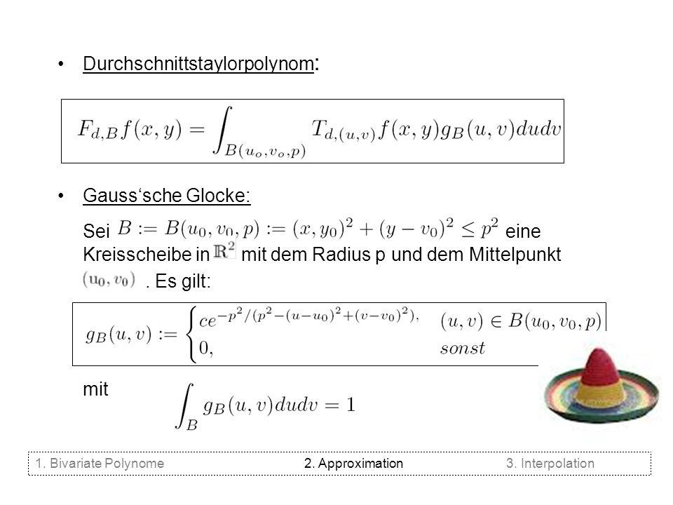 Durchschnittstaylorpolynom : Gausssche Glocke: Sei eine Kreisscheibe in mit dem Radius p und dem Mittelpunkt. Es gilt: mit 1. Bivariate Polynome2. App