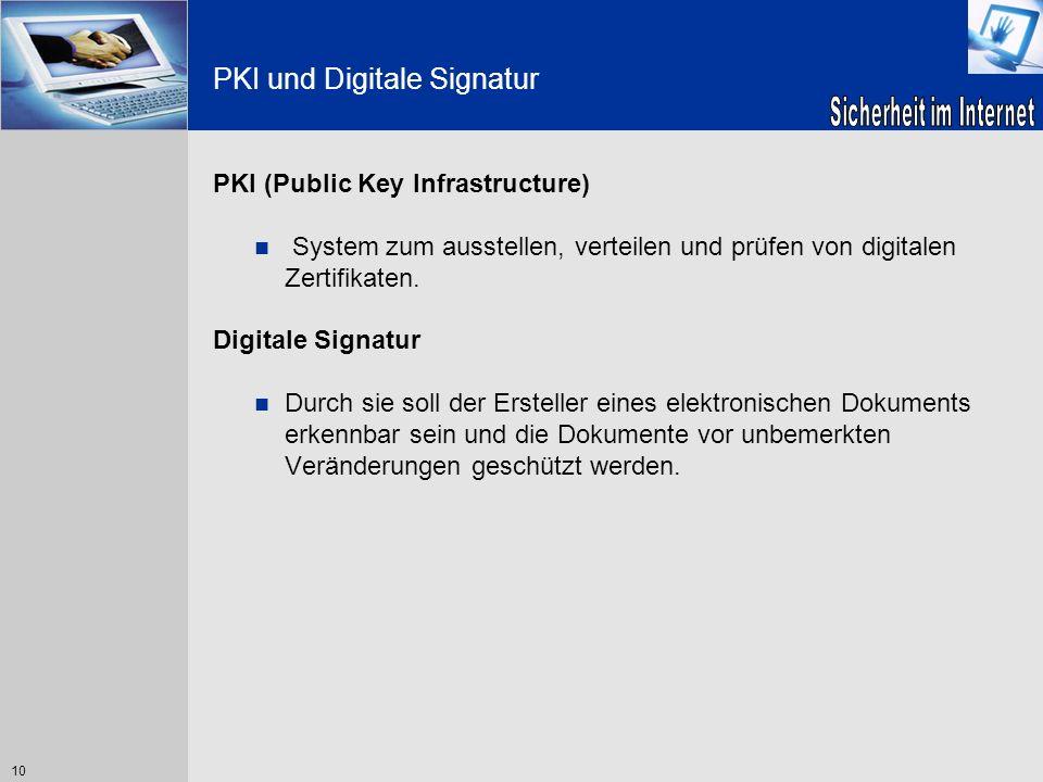10 PKI und Digitale Signatur PKI (Public Key Infrastructure) System zum ausstellen, verteilen und prüfen von digitalen Zertifikaten. Digitale Signatur