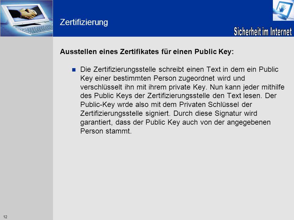 12 Zertifizierung Ausstellen eines Zertifikates für einen Public Key: Die Zertifizierungsstelle schreibt einen Text in dem ein Public Key einer bestim