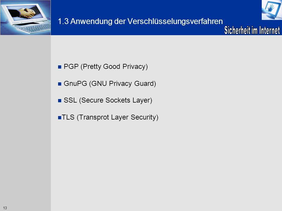 13 1.3 Anwendung der Verschlüsselungsverfahren PGP (Pretty Good Privacy) GnuPG (GNU Privacy Guard) SSL (Secure Sockets Layer) TLS (Transprot Layer Sec