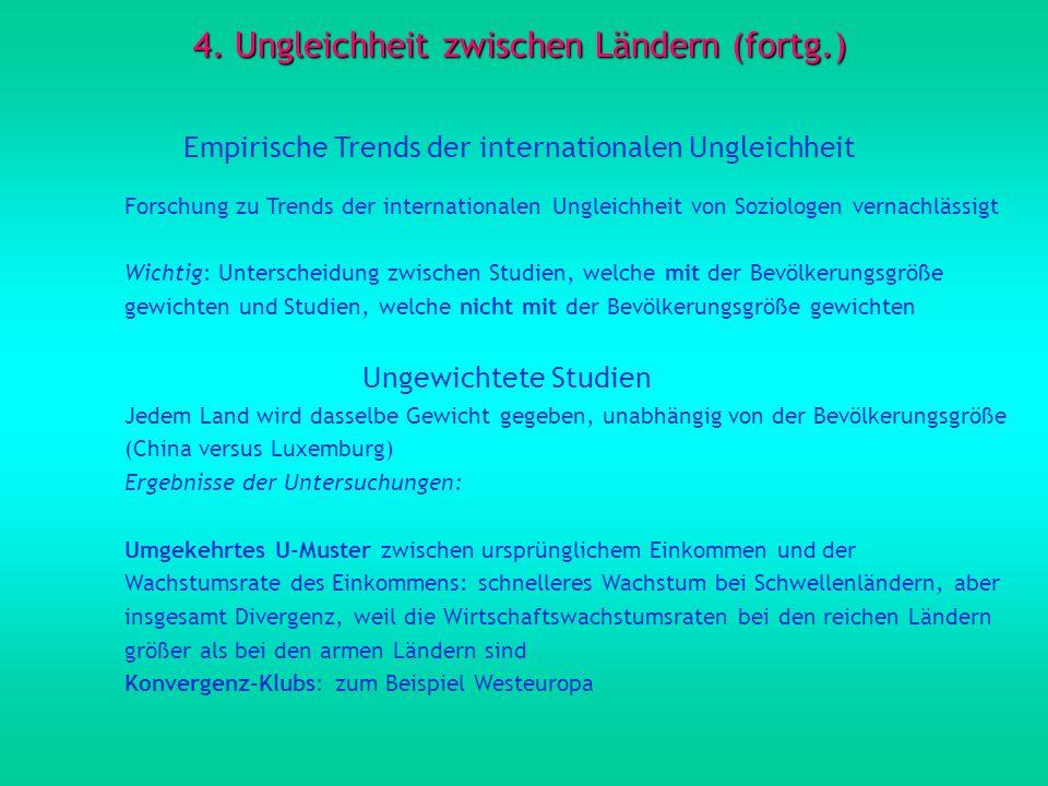 4. Ungleichheit zwischen Ländern (fortg.) Empirische Trends der internationalen Ungleichheit Forschung zu Trends der internationalen Ungleichheit von