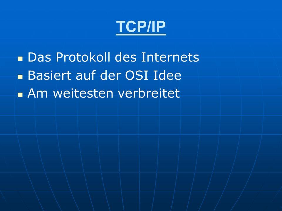 TCP/IP Das Protokoll des Internets Basiert auf der OSI Idee Am weitesten verbreitet