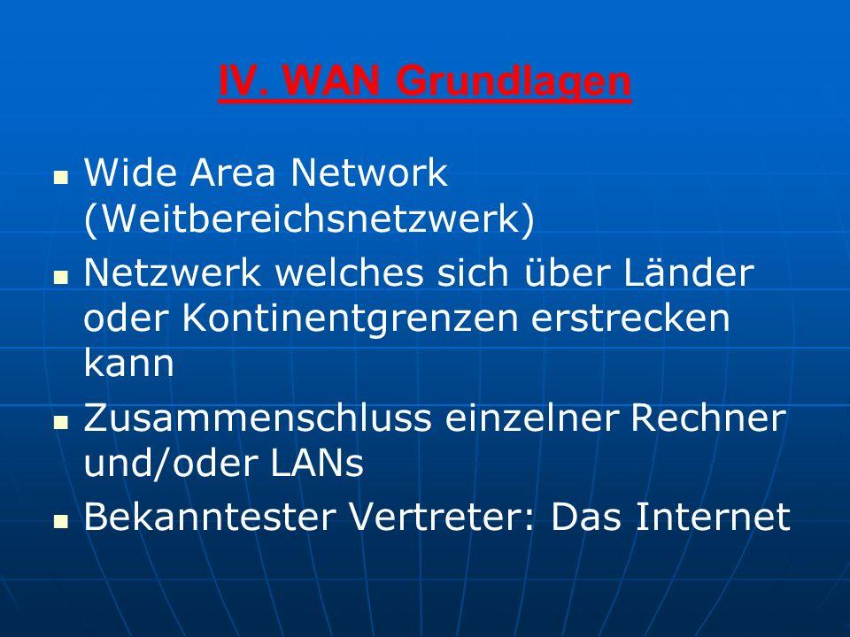 IV. WAN Grundlagen Wide Area Network (Weitbereichsnetzwerk) Netzwerk welches sich über Länder oder Kontinentgrenzen erstrecken kann Zusammenschluss ei