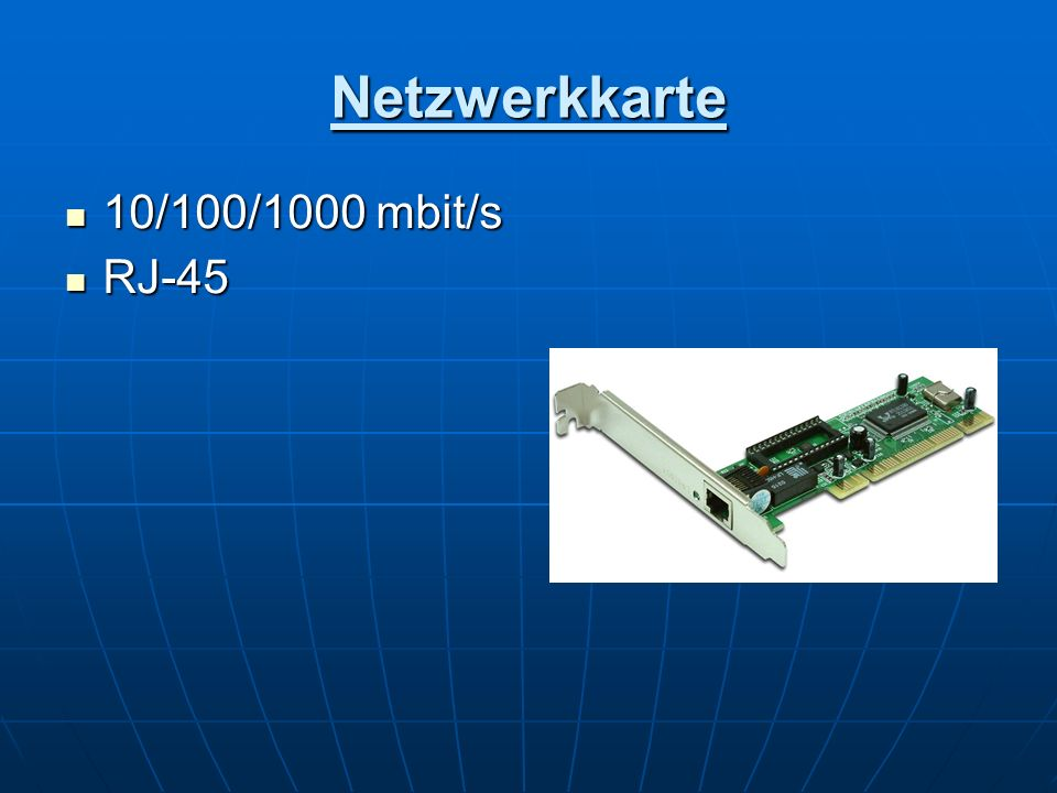 Netzwerkkarte 10/100/1000 mbit/s 10/100/1000 mbit/s RJ-45 RJ-45