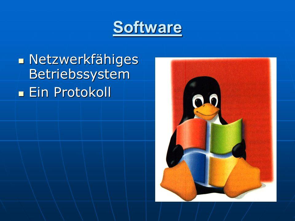 Software Netzwerkfähiges Betriebssystem Netzwerkfähiges Betriebssystem Ein Protokoll Ein Protokoll