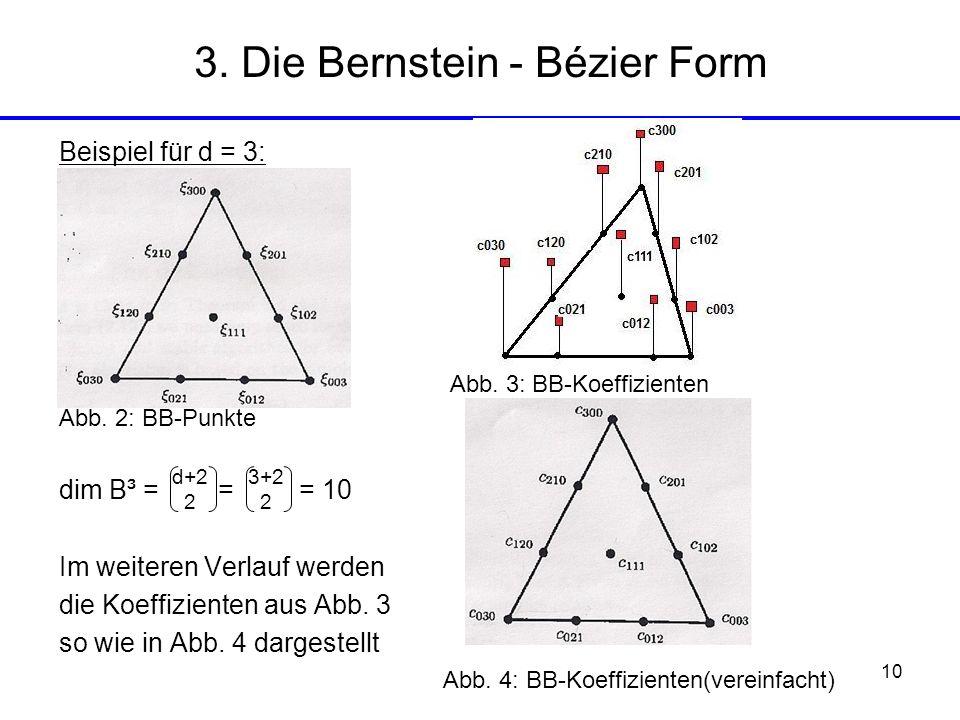 10 Beispiel für d = 3: Abb. 3: BB-Koeffizienten Abb. 2: BB-Punkte dim B³ = = = 10 Im weiteren Verlauf werden die Koeffizienten aus Abb. 3 so wie in Ab