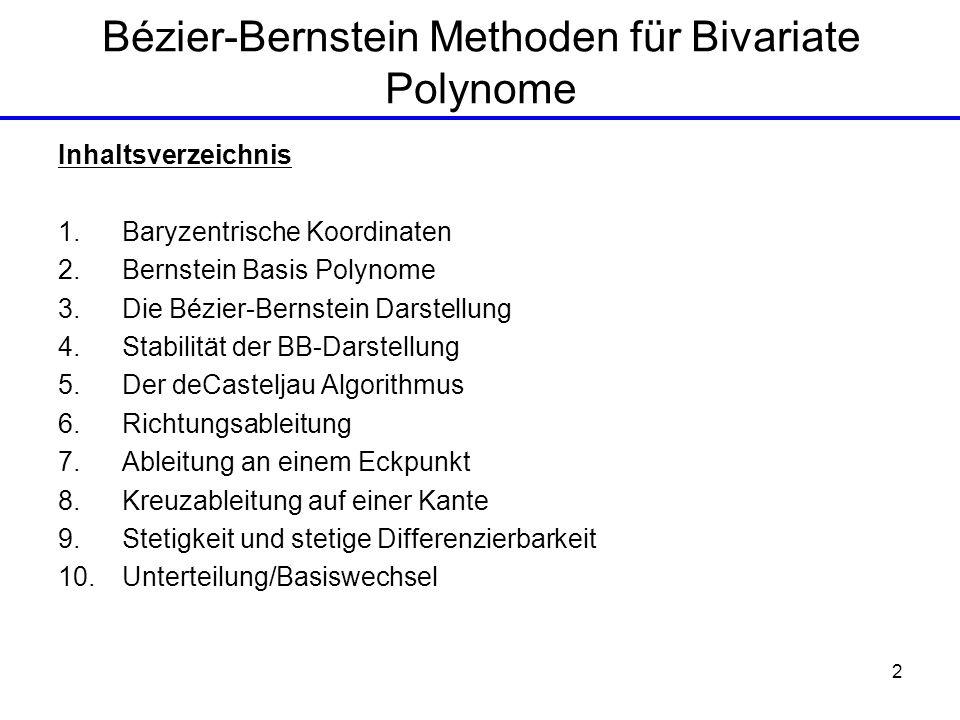 2 Bézier-Bernstein Methoden für Bivariate Polynome Inhaltsverzeichnis 1.Baryzentrische Koordinaten 2.Bernstein Basis Polynome 3.Die Bézier-Bernstein D