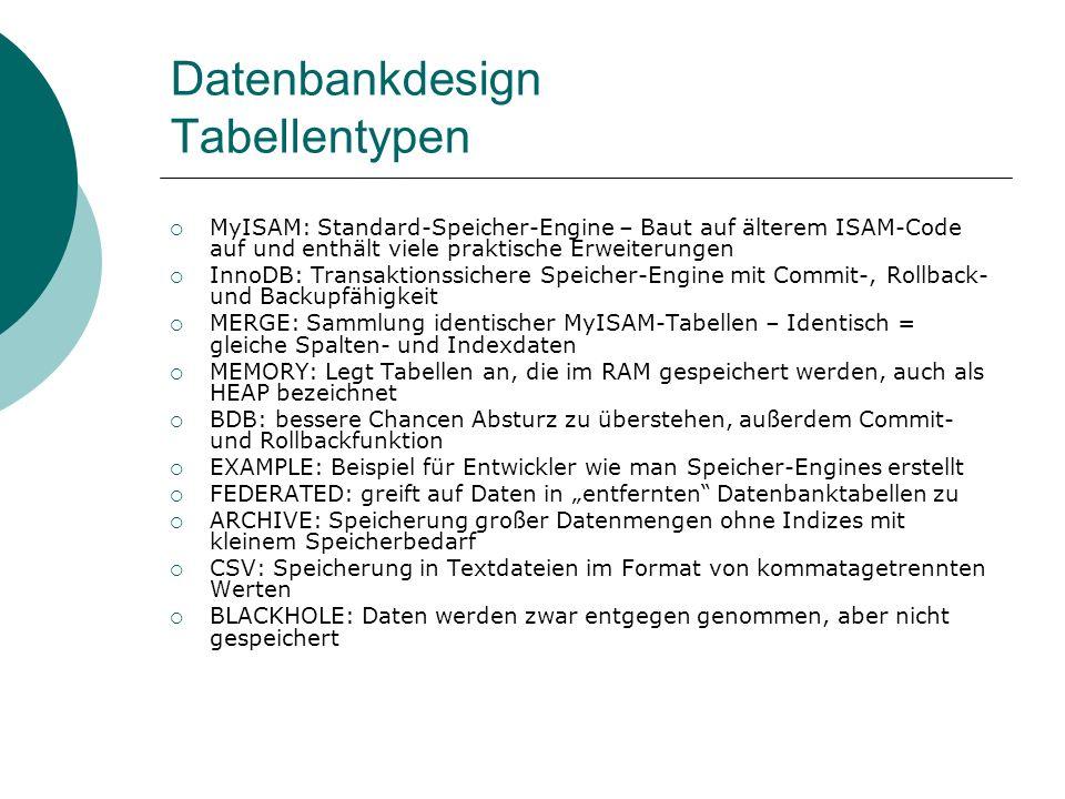 Datenbankdesign Tabellentypen MyISAM: Standard-Speicher-Engine – Baut auf älterem ISAM-Code auf und enthält viele praktische Erweiterungen InnoDB: Tra