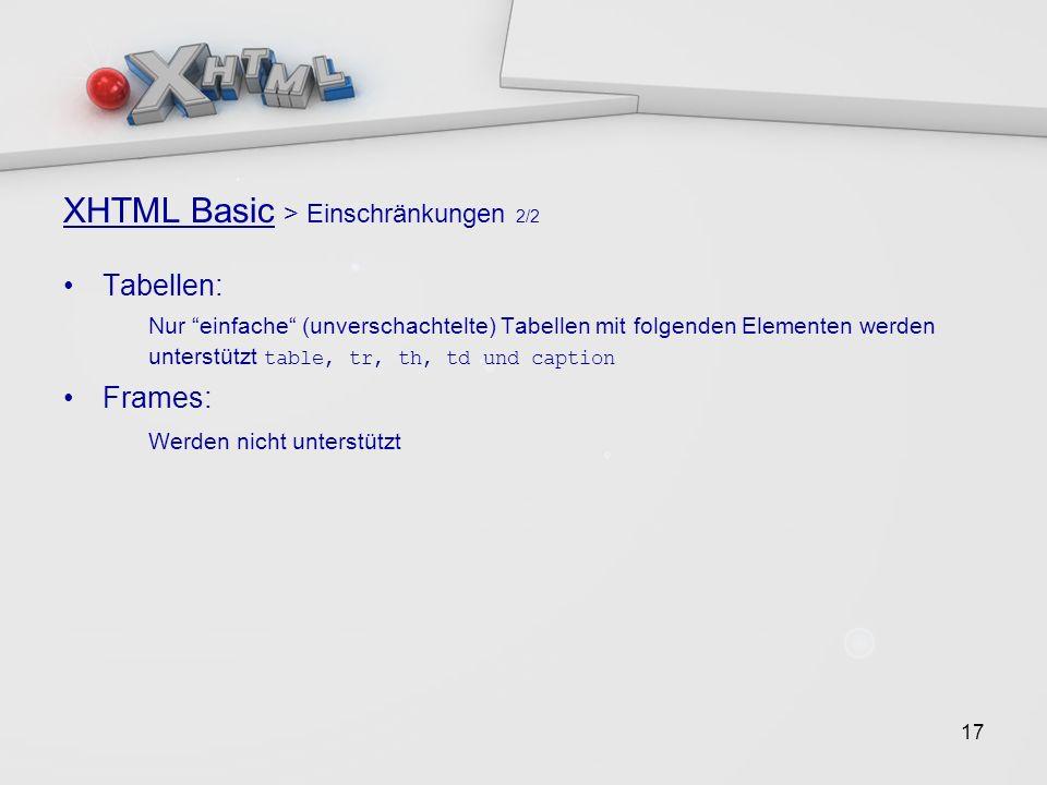 17 XHTML Basic > Einschränkungen 2/2 Tabellen: Nur einfache (unverschachtelte) Tabellen mit folgenden Elementen werden unterstützt table, tr, th, td und caption Frames: Werden nicht unterstützt