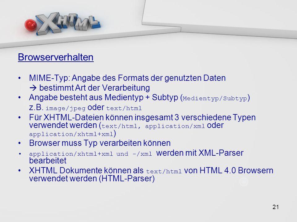 21 Browserverhalten MIME-Typ: Angabe des Formats der genutzten Daten bestimmt Art der Verarbeitung Angabe besteht aus Medientyp + Subtyp ( Medientyp/Subtyp ) z.B.