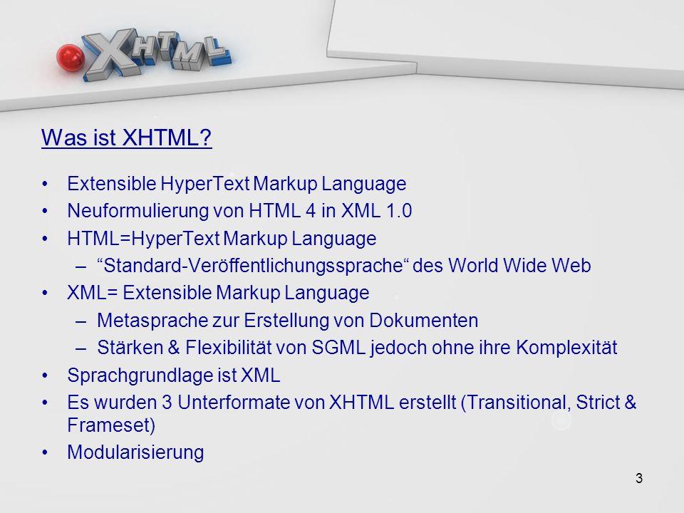 14 XHTML Basic > Kennzeichen/Voraussetzungen Dokument darf nur Elemente der XHTML Basic DTD verwenden Haupt-Element muss das html- Element sein Standard-Namespace des Haupt-Elements muss der von XHTML sein DOCTYPE-Beschreibung mit Verweis auf die XHTML Basic DTD Weitere DTDs dürfen keine Eigenschaften der Basic DTD überschreiben/ersetzten