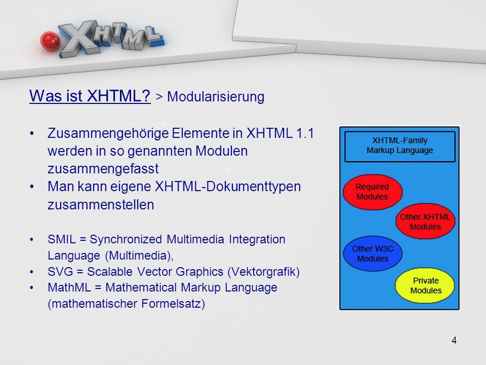 5 Bedingungen für XHTML-konforme Dokumente Sie müssen entsprechend einer XHTML DTD gültige XML Dokumente sein Das Root-Element muss sein Das Root-Element muss einen gültigen XHTML Namensraum bestimmen, der ein gültiger XML Namensraum sein muss Es muss eine XML DOCTYPE Deklaration vor dem Root-Element vorhanden sein.