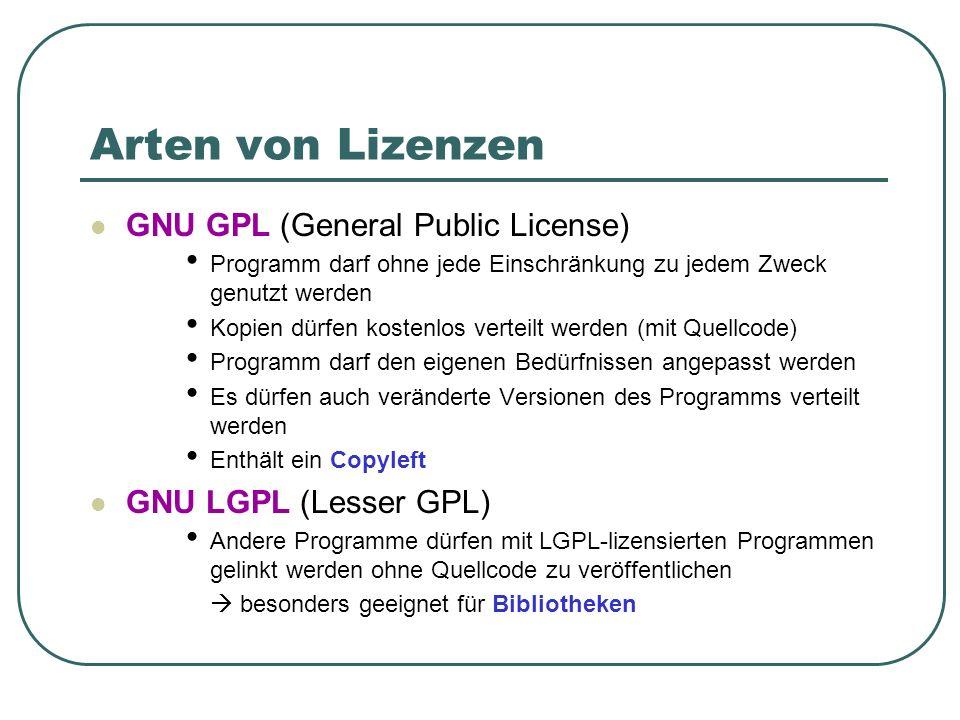 Arten von Lizenzen GNU GPL (General Public License) Programm darf ohne jede Einschränkung zu jedem Zweck genutzt werden Kopien dürfen kostenlos vertei