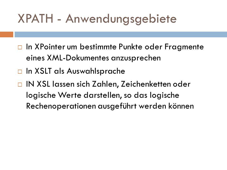 XPATH - Anwendungsgebiete In XPointer um bestimmte Punkte oder Fragmente eines XML-Dokumentes anzusprechen In XSLT als Auswahlsprache IN XSL lassen si