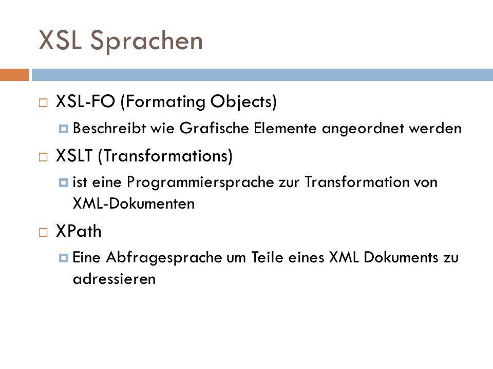 XSL Sprachen XSL-FO (Formating Objects) Beschreibt wie Grafische Elemente angeordnet werden XSLT (Transformations) ist eine Programmiersprache zur Tra