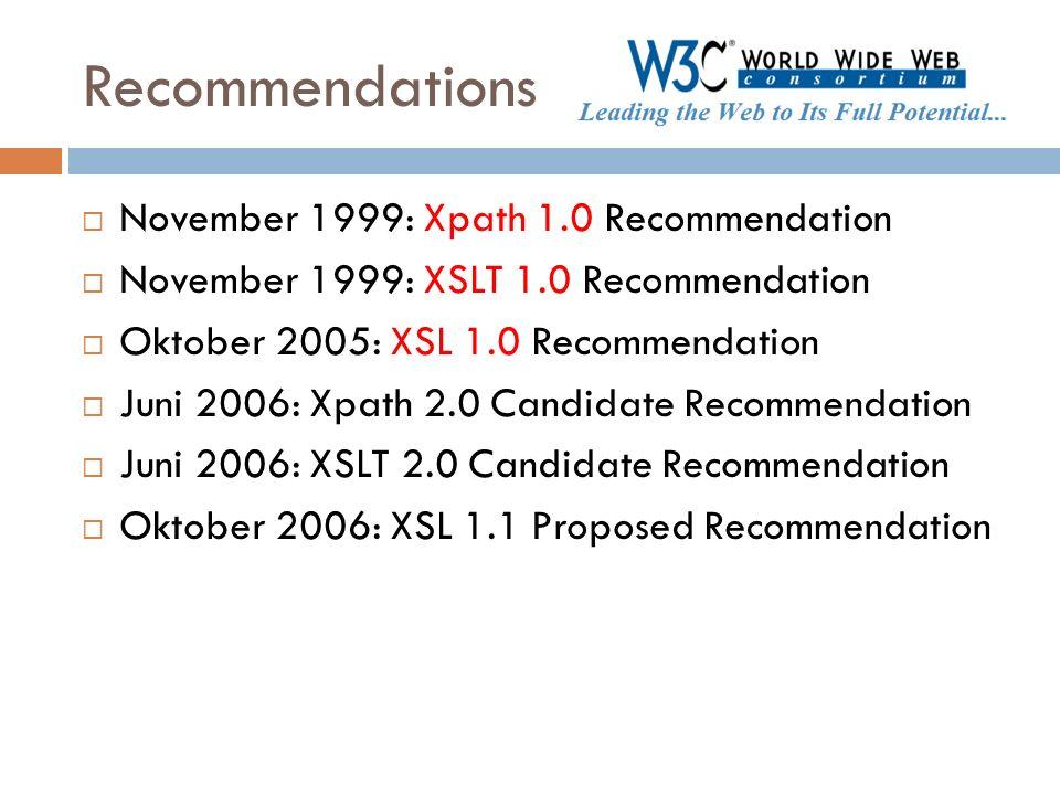 Recommendations November 1999: Xpath 1.0 Recommendation November 1999: XSLT 1.0 Recommendation Oktober 2005: XSL 1.0 Recommendation Juni 2006: Xpath 2
