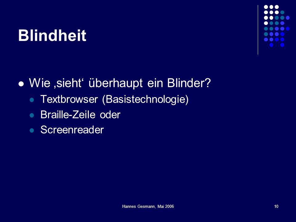 10 Blindheit Wie sieht überhaupt ein Blinder? Textbrowser (Basistechnologie) Braille-Zeile oder Screenreader