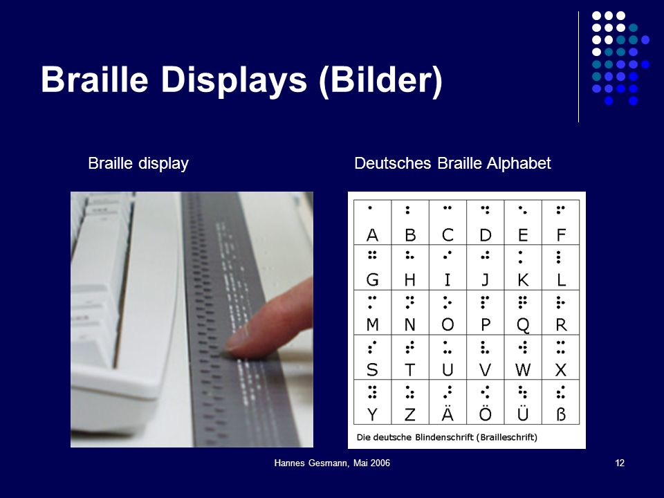 Hannes Gesmann, Mai 200612 Braille Displays (Bilder) Braille displayDeutsches Braille Alphabet