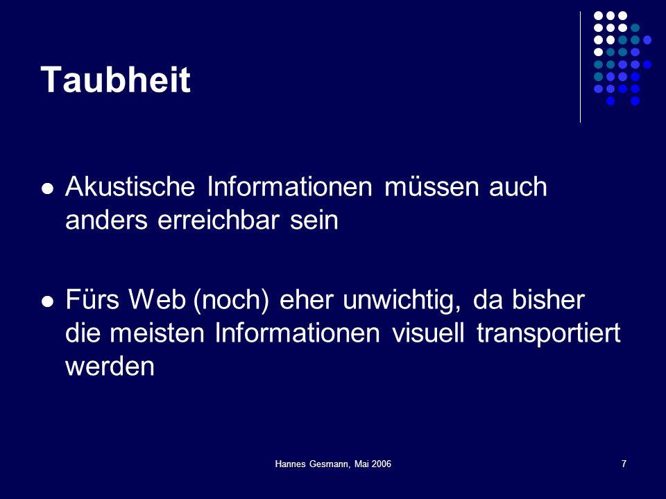 Hannes Gesmann, Mai 20067 Taubheit Akustische Informationen müssen auch anders erreichbar sein Fürs Web (noch) eher unwichtig, da bisher die meisten I