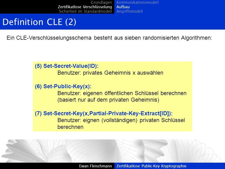 Ewan FleischmannZertifikatlose Public-Key Kryptographie Definition CLE (2) Ein CLE-Verschlüsselungsschema besteht aus sieben randomisierten Algorithme