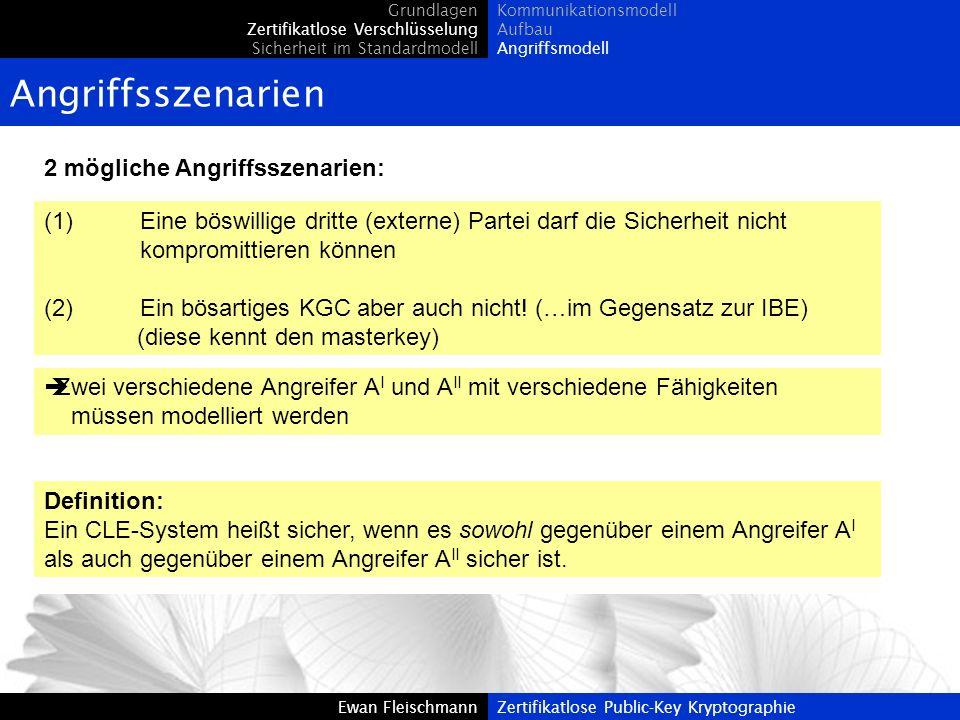 Ewan FleischmannZertifikatlose Public-Key Kryptographie Angriffsszenarien 2 mögliche Angriffsszenarien: Grundlagen Zertifikatlose Verschlüsselung Sich
