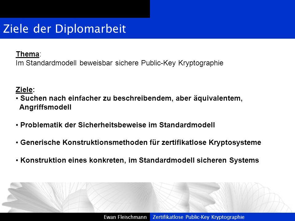 Ewan FleischmannZertifikatlose Public-Key KryptographieEwan FleischmannZertifikatlose Public-Key Kryptographie Ziele der Diplomarbeit Thema: Im Standa