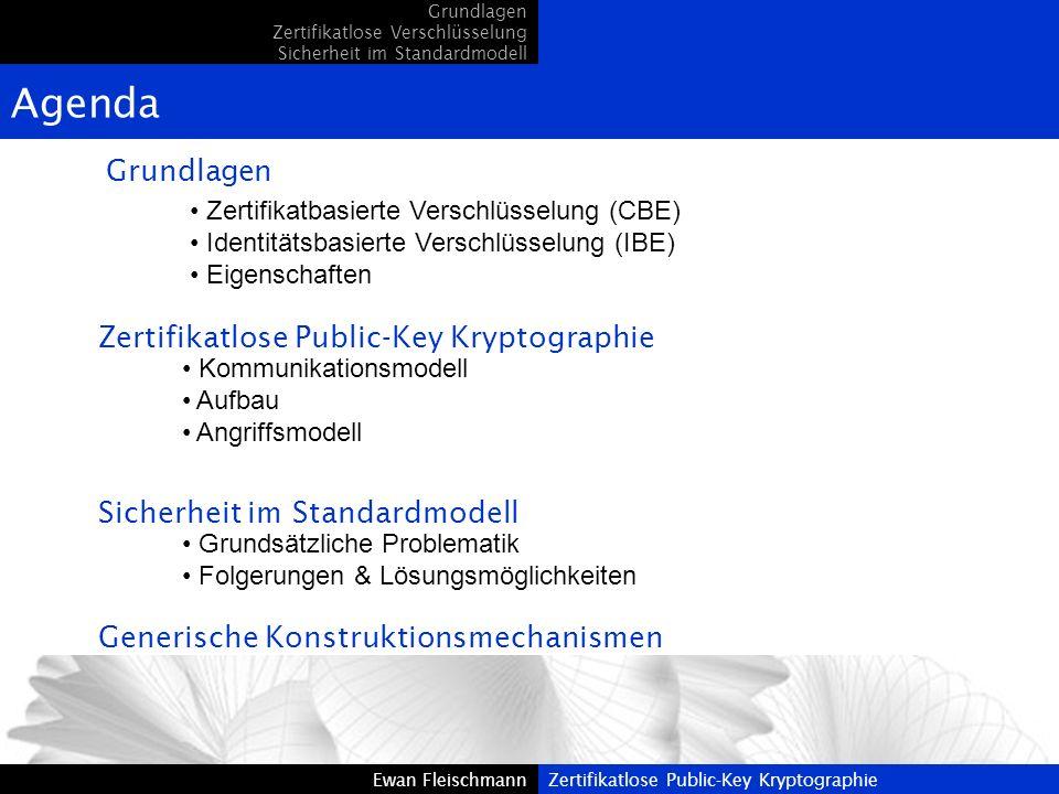 Ewan FleischmannZertifikatlose Public-Key KryptographieEwan FleischmannZertifikatlose Public-Key Kryptographie Grundlagen Zertifikatlose Verschlüsselu