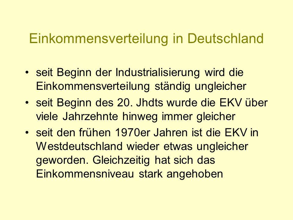 Einkommensverteilung in Deutschland seit Beginn der Industrialisierung wird die Einkommensverteilung ständig ungleicher seit Beginn des 20. Jhdts wurd