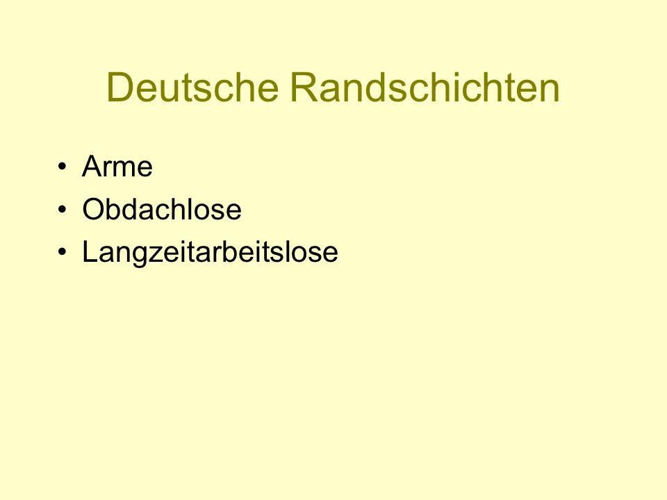 Deutsche Randschichten Arme Obdachlose Langzeitarbeitslose