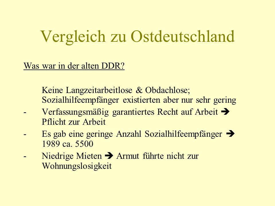 Vergleich zu Ostdeutschland Was war in der alten DDR? Keine Langzeitarbeitlose & Obdachlose; Sozialhilfeempfänger existierten aber nur sehr gering -Ve