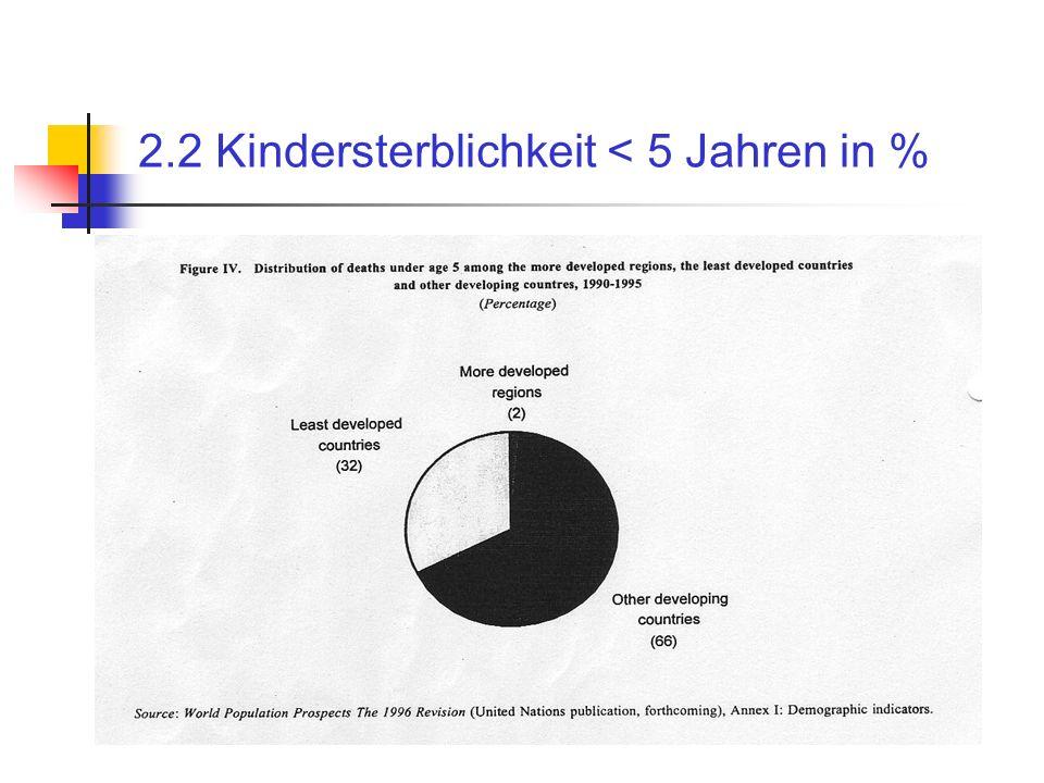 2.2 Kindersterblichkeit < 5 Jahren in %