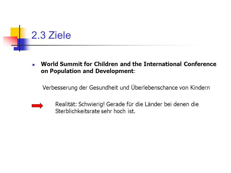 2.3 Ziele World Summit for Children and the International Conference on Population and Development: Verbesserung der Gesundheit und Überlebenschance v