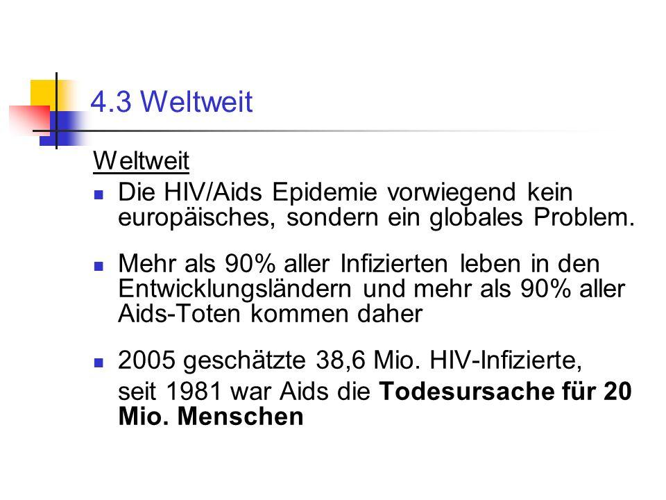 4.3 Weltweit Weltweit Die HIV/Aids Epidemie vorwiegend kein europäisches, sondern ein globales Problem. Mehr als 90% aller Infizierten leben in den En