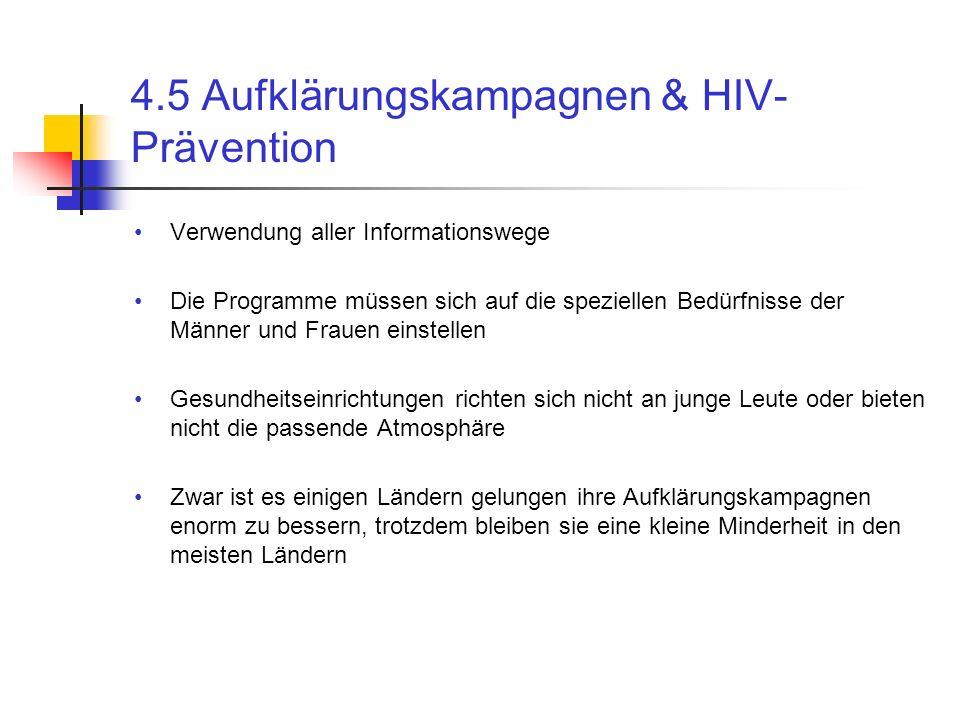 4.5 Aufklärungskampagnen & HIV- Prävention Verwendung aller Informationswege Die Programme müssen sich auf die speziellen Bedürfnisse der Männer und F