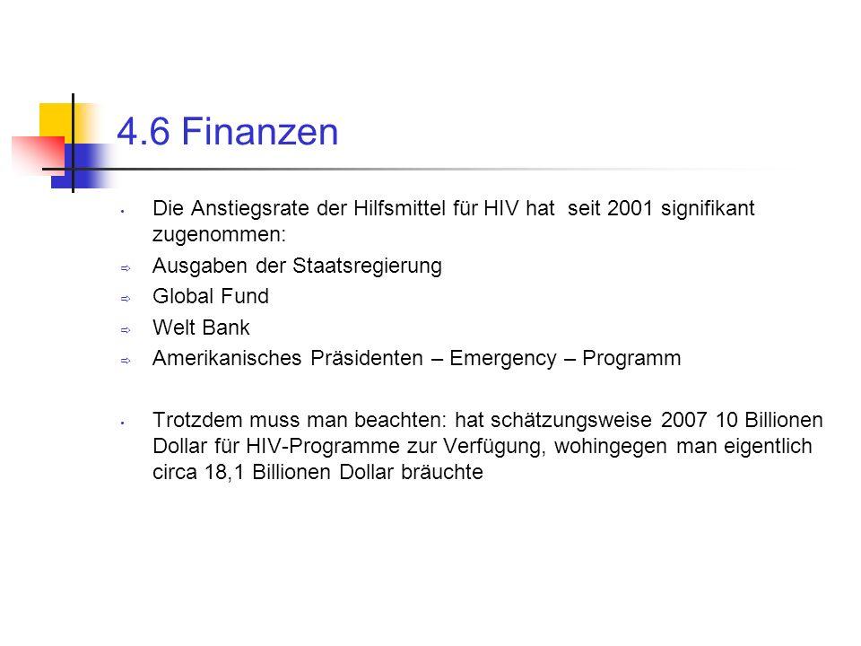 4.6 Finanzen Die Anstiegsrate der Hilfsmittel für HIV hat seit 2001 signifikant zugenommen: Ausgaben der Staatsregierung Global Fund Welt Bank Amerika