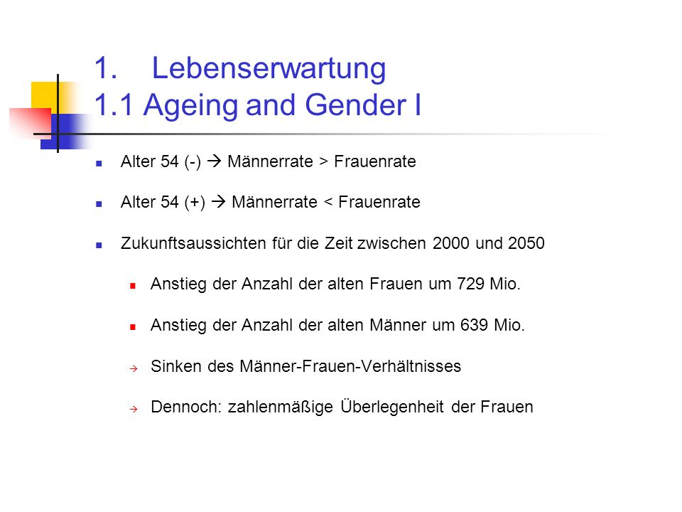 1.1 Ageing and Gender II