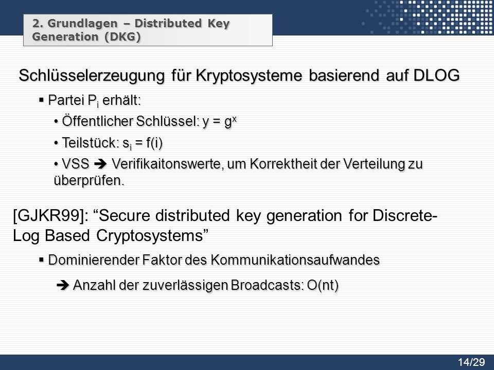 2. Grundlagen – Distributed Key Generation (DKG) Schlüsselerzeugung für Kryptosysteme basierend auf DLOG Öffentlicher Schlüssel: y = g x Öffentlicher