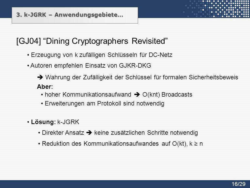 3. k-JGRK – Anwendungsgebiete… [GJ04] Dining Cryptographers Revisited Autoren empfehlen Einsatz von GJKR-DKG Wahrung der Zufälligkeit der Schlüssel fü