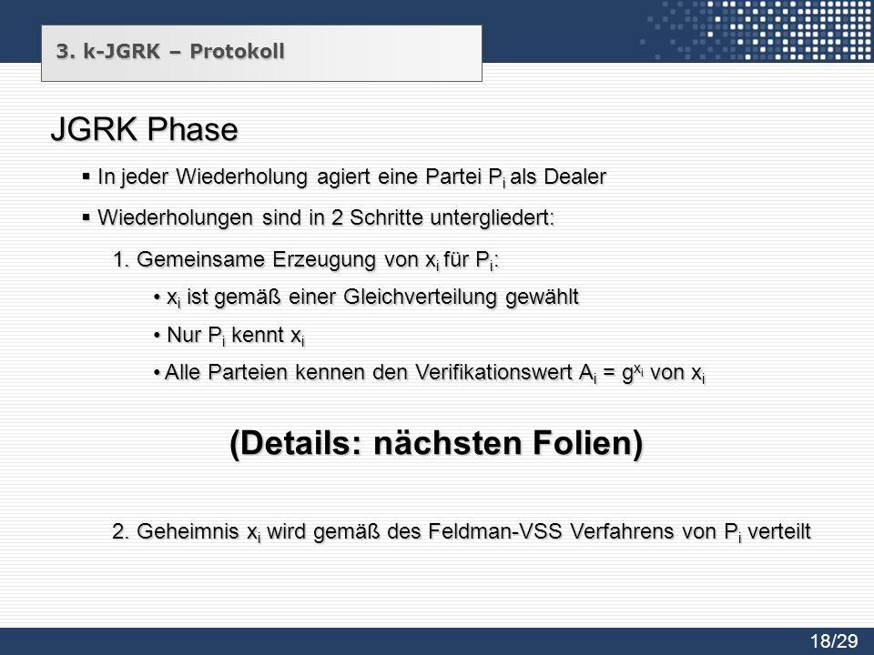 JGRK Phase 1. Gemeinsame Erzeugung von x i für P i : 2. Geheimnis x i wird gemäß des Feldman-VSS Verfahrens von P i verteilt (Details: nächsten Folien