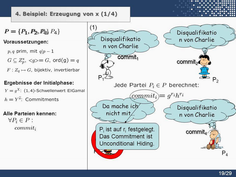4. Beispiel: Erzeugung von x (1/4) r 1 Є R Z q r4 ЄRZqr4 ЄRZq Alle Parteien kennen: r3 ЄRZqr3 ЄRZq r2 ЄRZqr2 ЄRZq P1P1P1P1 P2P2P2P2 P3P3P3P3 P4P4P4P4