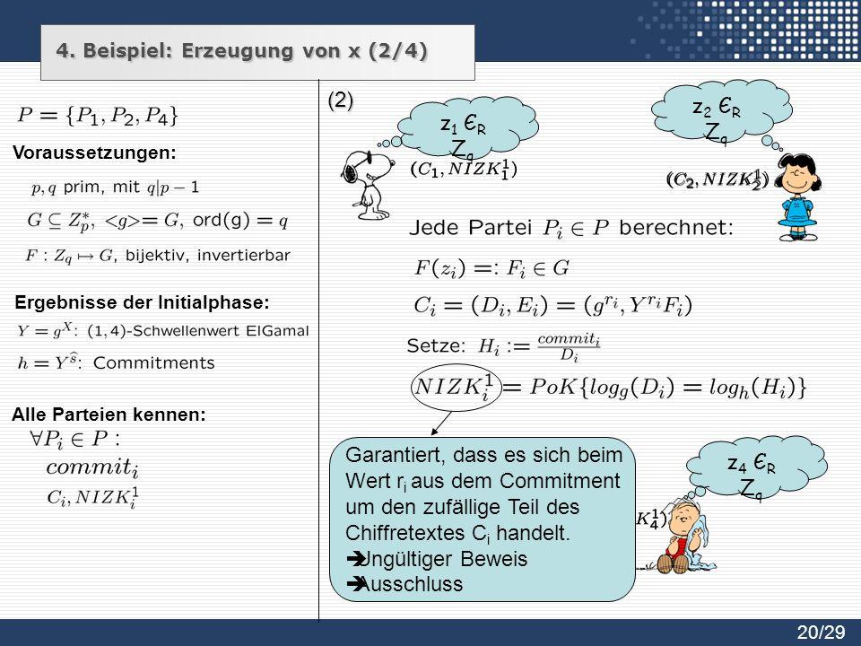 (2) z1 ЄRZqz1 ЄRZq z2 ЄRZqz2 ЄRZq z4 ЄRZqz4 ЄRZq Garantiert, dass es sich beim Wert r i aus dem Commitment um den zufällige Teil des Chiffretextes C i