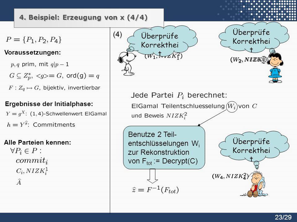 (4) Benutze 2 Teil- entschlüsselungen W i zur Rekonstruktion von F tot := Decrypt(C) Überprüfe Korrekthei t 23/29 Alle Parteien kennen: Voraussetzunge