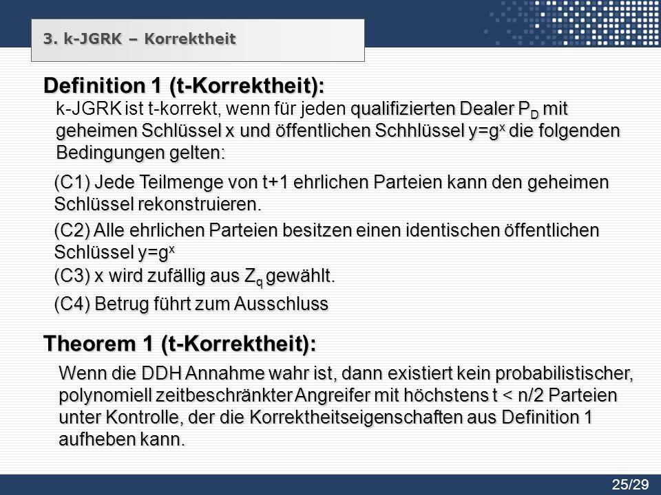 3. k-JGRK – Korrektheit Definition 1 (t-Korrektheit): qualifizierten Dealer P D mit geheimen Schlüssel x und öffentlichen Schhlüssel y=g x die folgend