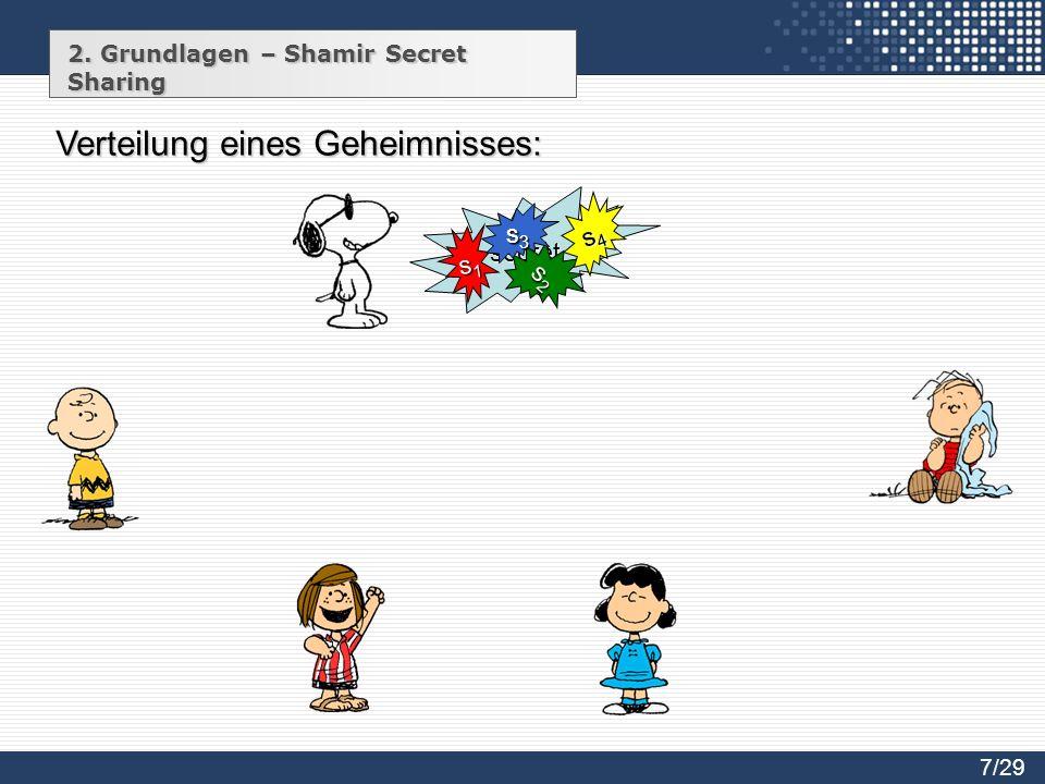 2. Grundlagen – Shamir Secret Sharing secret s1s1s1s1 s2s2s2s2 s3s3s3s3 s4s4s4s4 Verteilung eines Geheimnisses: 7/29