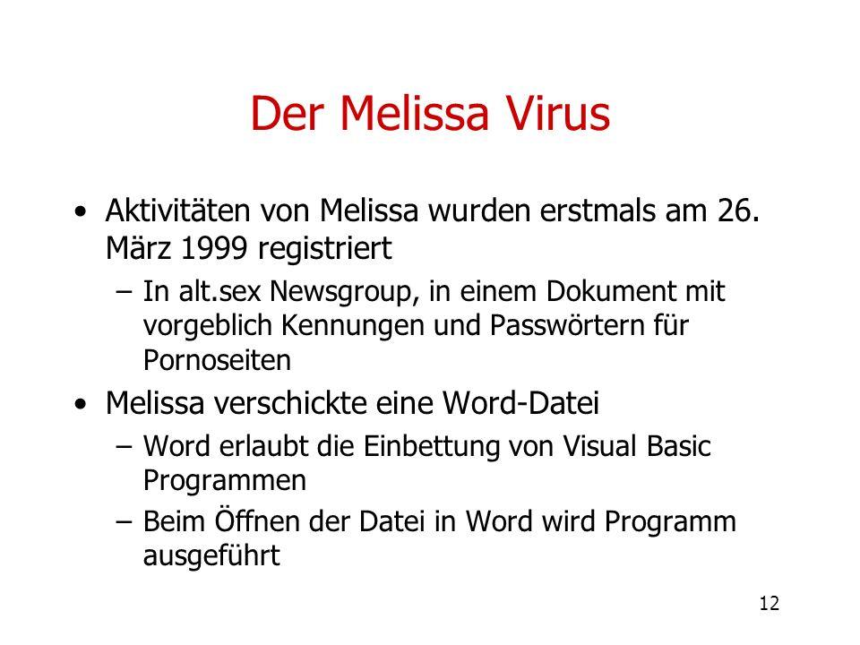 12 Der Melissa Virus Aktivitäten von Melissa wurden erstmals am 26. März 1999 registriert –In alt.sex Newsgroup, in einem Dokument mit vorgeblich Kenn