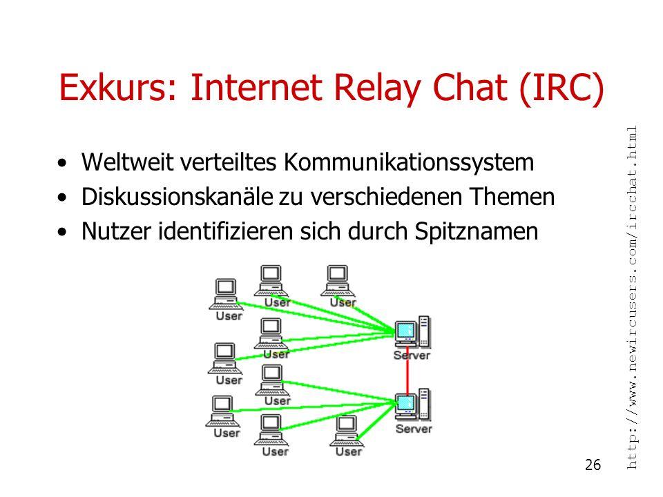 26 Exkurs: Internet Relay Chat (IRC) Weltweit verteiltes Kommunikationssystem Diskussionskanäle zu verschiedenen Themen Nutzer identifizieren sich dur