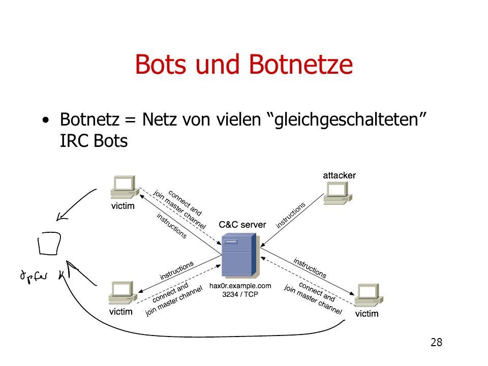 28 Bots und Botnetze Botnetz = Netz von vielen gleichgeschalteten IRC Bots