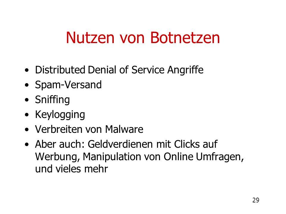 29 Nutzen von Botnetzen Distributed Denial of Service Angriffe Spam-Versand Sniffing Keylogging Verbreiten von Malware Aber auch: Geldverdienen mit Cl