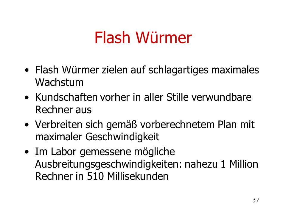 37 Flash Würmer Flash Würmer zielen auf schlagartiges maximales Wachstum Kundschaften vorher in aller Stille verwundbare Rechner aus Verbreiten sich g